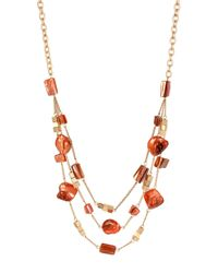 Kenneth Cole | Orange Mixed Shell Bead Illusion Necklace for Men | Lyst