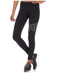 PUMA | Black Logo Leggings | Lyst