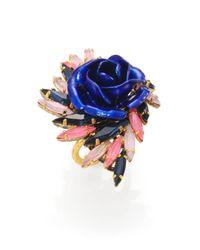 Erickson Beamon - Blue Enamel & Swarovski Crystal Urban Jungle Ring for Men - Lyst