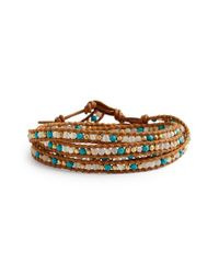 Chan Luu | Brown Beaded Leather Wrap Bracelet - Turquoise Mix/ Henna | Lyst