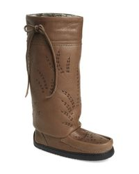Manitobah Mukluks Gray Tall Gatherer Leather Boots