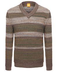 BOSS Orange Brown 'kayne'   Virgin Wool Alpaca Blend Textured Sweater for men