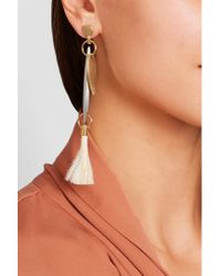 Chloé - White Harlow Gold And Sliver-tone Feather Earrings - Lyst