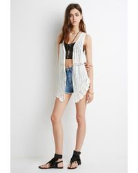 Forever 21 White Asymmetrical Crocheted Vest