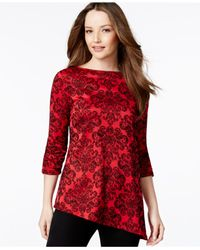 Style & Co. | Red Asymmetrical Hem Knit Tunic | Lyst
