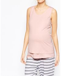 ASOS - Pink Nursing Vest And Stripe Trouser Pyjama Set - Lyst