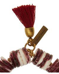 Isabel Marant Red Fiji Beaded Tassel Bracelet