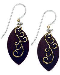 Macy's | Metallic Beaded Leaf Earrings In Brass Patina & Sterling Silver | Lyst