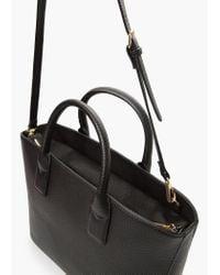 Mango - Black Plebbed Shopper Bag - Lyst