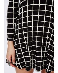 Missguided | Black Mikita Long Sleeve Swing Dress Grid Check | Lyst