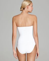Tommy Bahama White Deck Piping Twist Front Bandeau One Piece Swimsuit