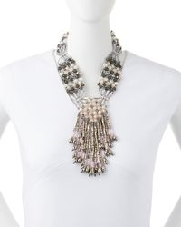 Nakamol | Gray Crystal Woven Necklace | Lyst