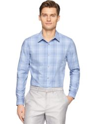 Calvin Klein | Blue Plaid Sportshirt for Men | Lyst