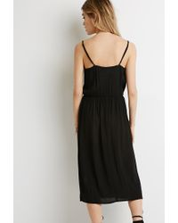 Forever 21 | Black Shirred Gauze Midi Dress | Lyst