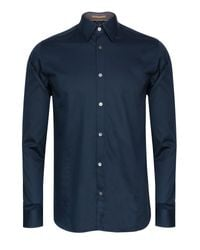 Ted Baker Blue Rainjam Satin Stretch Shirt for men