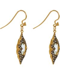 Cathy Waterman Metallic Aquamarine Diamond Drop Earrings