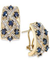 Macy's - Blue Sapphire (4-1/5 Ct. T.w.) And Diamond (3/8 Ct. T.w.) Earrings In 14k Gold - Lyst