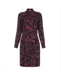 Paul Smith - Blue Scribble Floral Printed Shirt Dress - Lyst