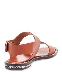 Givenchy - Brown Chain-Detail Leather Sandals  - Lyst