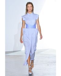 Vionnet - Blue Silk Tulle Cotton Poplin Long Dress - Lyst