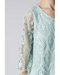 TOPSHOP Green Crochet Flare Top