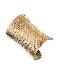 Guess Metallic Basket Weave Cuff Bracelet