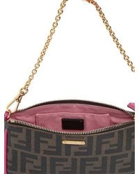 Fendi | Brown Logo Printed Coated Canvas Clutch | Lyst