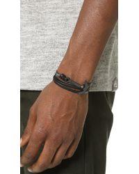 Miansai Black Modern Anchor Leather Wrap Bracelet for men