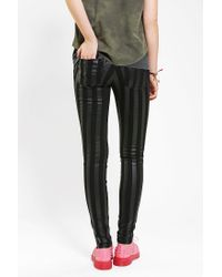 Tripp Nyc - Black Coated Striped Skinny Jean - Lyst