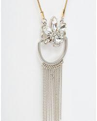 ASOS - Metallic Curve Statement Chain Long Pendant Necklace - Lyst
