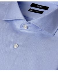 BOSS Blue Jason Textured Slim Fit Shirt for men
