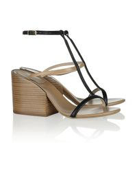 Chloé | Black Leather T-Bar Sandals | Lyst
