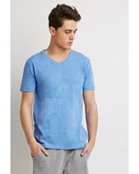 Forever 21 | Blue Heathered V-neck Tee for Men | Lyst