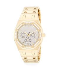 Saks Fifth Avenue | Metallic Swarovski Crystal Bezel Goldtone Stainless Steel Bracelet Watch | Lyst