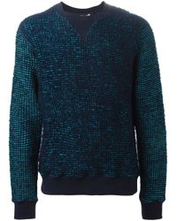 KENZO | Blue Marled Knit Sweater for Men | Lyst