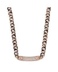 Michael Kors - Pink Pavé Stainless Steel And Tortoise Acetate Necklace - Lyst