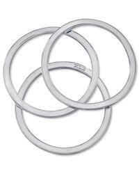 Guess - Metallic Set Of Three Silver-tone Bangle Bracelets - Lyst