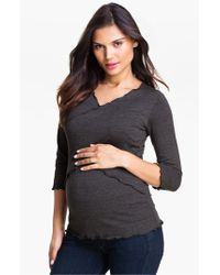 Japanese Weekend | Black Cross Front Maternity/nursing Top | Lyst