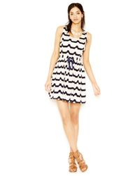 Maison Jules - Blue Striped Drawstring Dress - Lyst