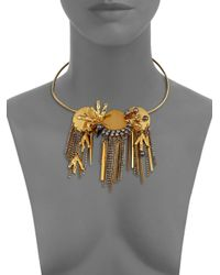 Lizzie Fortunato - Metallic Palace 6mm Peacock Pearl Cluster Fringe Convertible Collar Necklace/pin - Lyst