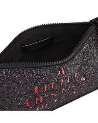 Lulu Guinness Black Women's Grace Medium Lipstick Never Hurts Glitter Clutch Bag