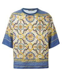 Dolce & Gabbana Blue Majolica-Print T-Shirt for men