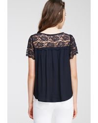 Forever 21 - Blue Lace-paneled Crepe Top - Lyst