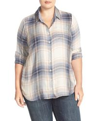 Lucky Brand Blue 'bungalow' Plaid Button Back Shirt