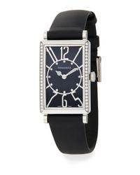 Tiffany & Co. - Metallic Gallery Diamond Stainless Steel Leather Strap Watch - Lyst