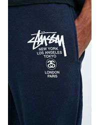 Stussy Blue World Tour Joggers in Navy for men
