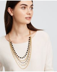 Ann Taylor | Black Layered Beaded Crystal Necklace | Lyst