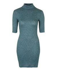 TOPSHOP Blue Rib Roll-neck Bodycon Dress