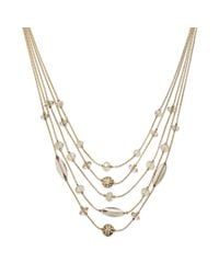 INC International Concepts | Metallic Gold-tone Blush Bead Illusion Necklace | Lyst