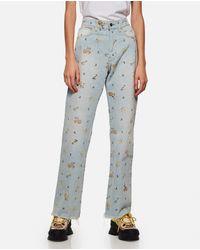 Jeans floreali a vita alta di Alanui in Blue